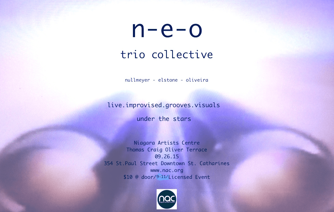 n-e-o trio collective on the Thomas Craig Oliver Terrace:  Sat 26 Sept 2015